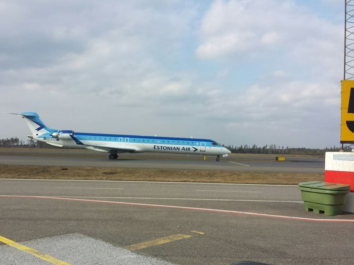 Estonian Airport Airlines Arriving Airplane
