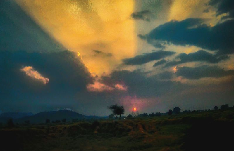 Dramatic Sky Cloud - Sky No People Nature Night Awe Landscape Sunset Outdoors Sky Scenics Beauty In Nature Red Multi Colored Tree Tree Area Green Color Silhouette Field Clouds And Sky Sunlight Clouds Sunlight From Mid Of Clouds Beauty In Nature Nature Freshness