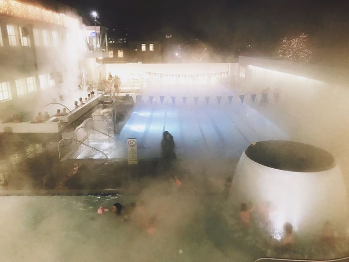Real People Night Large Group Of People Illuminated Built Structure Architecture Building Exterior Outdoors Men City People Pool Swimming Pool
