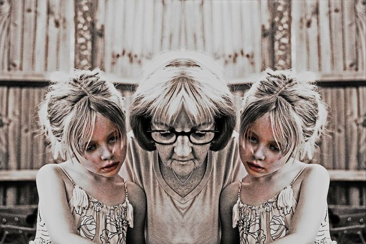 Double Trouble Adult Child Childhood Daughter Day Family Females Front View Girls Group Of People Hairstyle Headshot Innocence Leisure Activity Lifestyles Offspring Parent People Portrait Real People Sister Togetherness Women