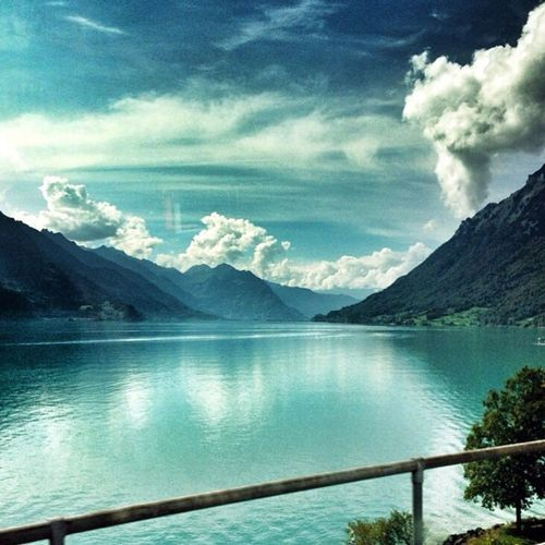 Tranquil Scene Mountain Water Scenics Tranquility Lake Mountain Range Reflection Sky Beauty In Nature Idyllic Nature Calm Majestic Remote Lake Brienz Switzerland