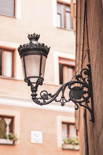 Street light on window of building
