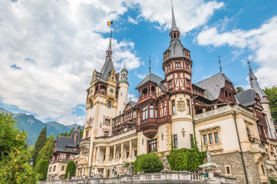 Nice view of Peles Castle in Romania Peles Castle Peles Romania