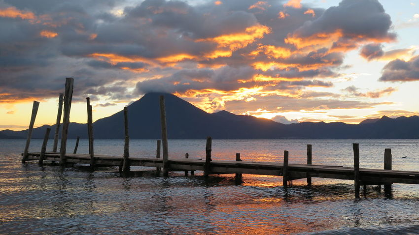 Lago Atitlán Volcano Sunset Skyporn Sky And Clouds Sunset_collection Clouds And Sky Traveling Travel Guatemala 43 Golden Moments