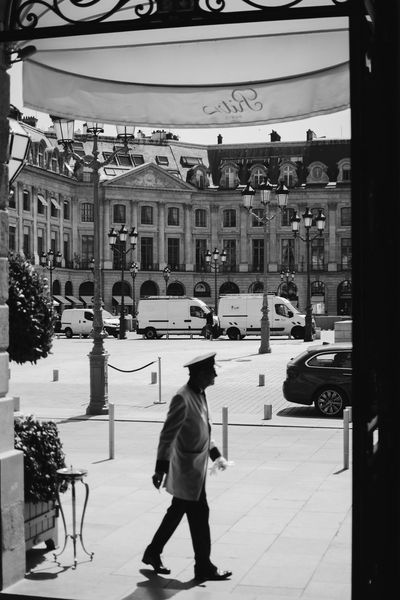 Doorman at the Ritz, Paris Elégance Luxury Hotel Luxury Travel The Ritz Carlton Travel Traveling Architecture Black And White Blackandwhite Building Exterior Car City Classy Day Europe Expensive Hotel Interior Interior Design Luxury Luxury Life Ritz Travel Destinations Walking