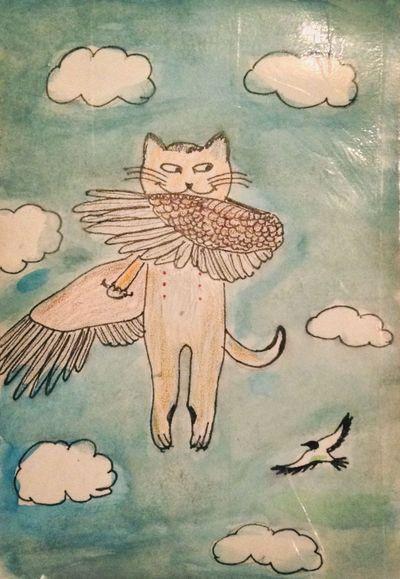 Отчего котики не летают, как птицы? Cat Illustration Watercolor