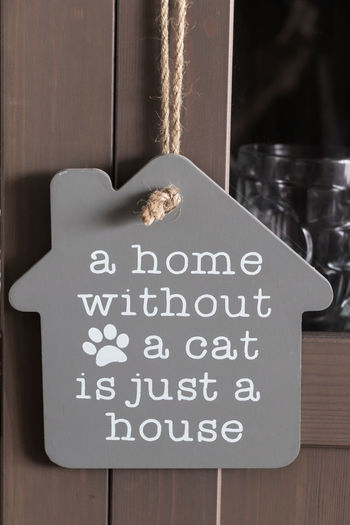 Text Communication Western Script Sign Close-up Animal Lover Cat Lovers Cat Love Wood - Material Indoors  Focus On Foreground Hanging Board Message Information Sign Love My Cat No People House Shape House Shaped