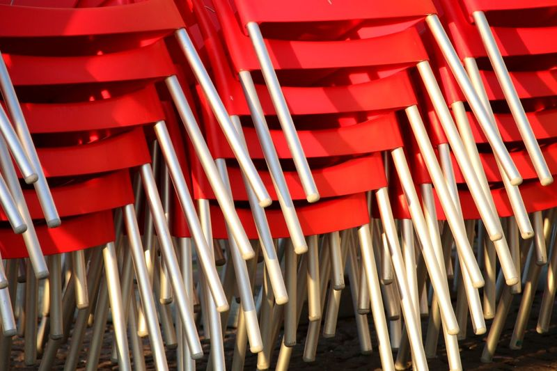 Ready for spring😊 Stacked Chairs Chairs Red Chairs Stacked Red No People Day Outdoors