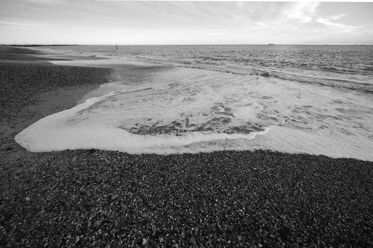 Surging Surf Surf Beach Beauty In Nature Black And White Blackandwhite Horizon Horizon Over Water Land Motion Nature Pebble Sand Scenics - Nature Sea Tranquil Scene Tranquility Water Wave