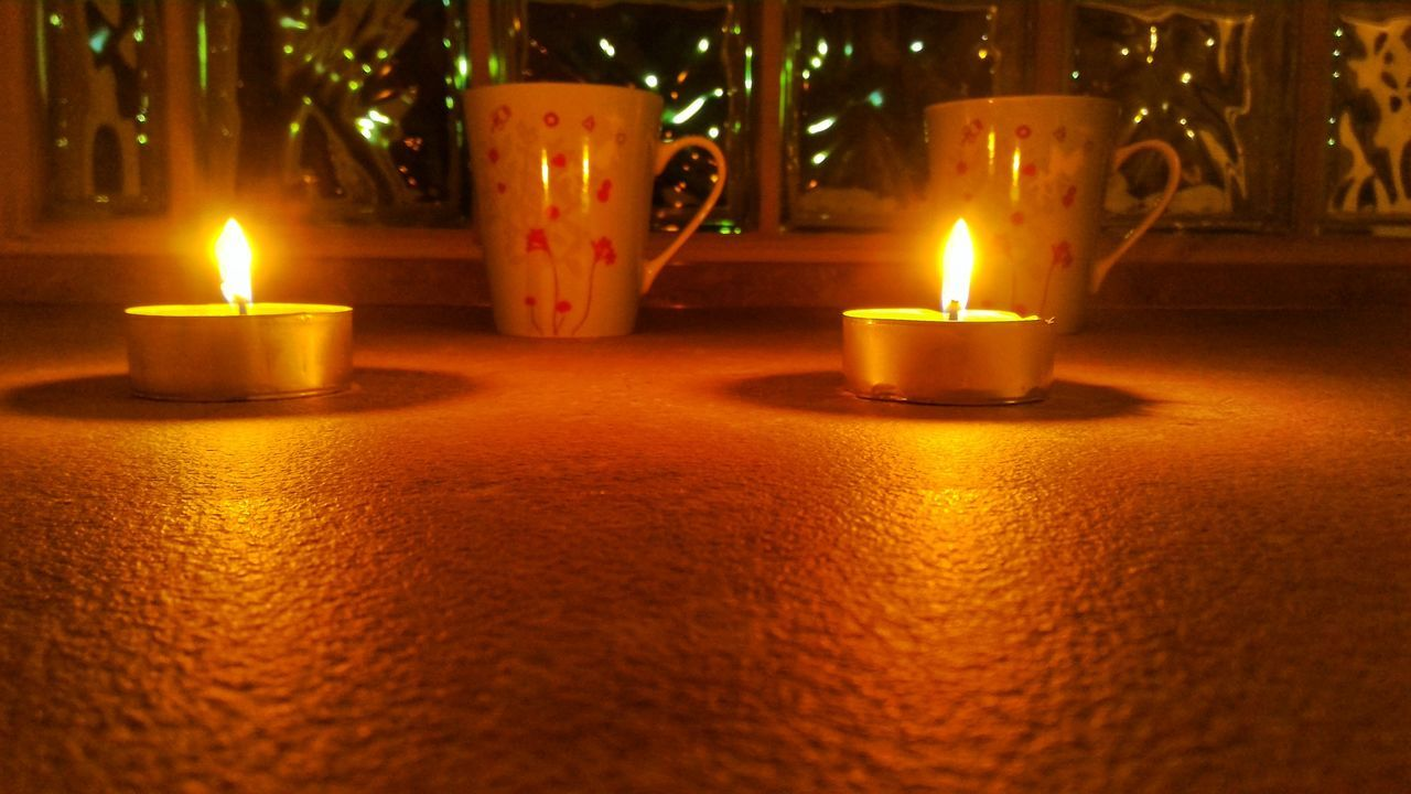 candle, flame, illuminated, burning, heat - temperature, glowing, night, no people, indoors, table, close-up, diya - oil lamp