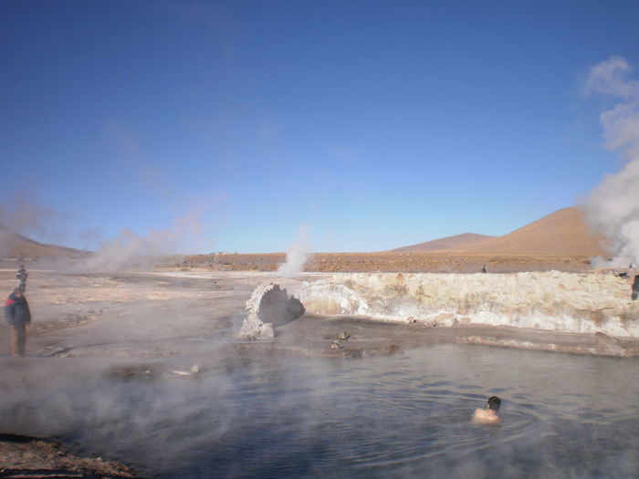 Rear View Of Shirtless Man In Hot Spring At Tatio Geysers