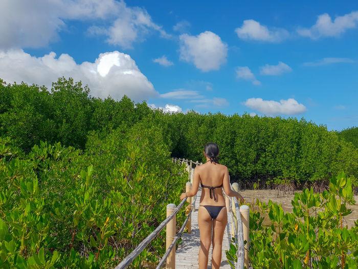 Rear view of woman in bikini standing on boardwalk against sky