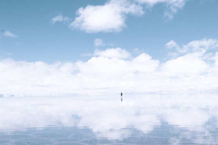 Maybe we would lose ourselves in the reflection. Adult Adults Only Blue Cloud - Sky Clouds Day Frozen Ice Lake Landscape Nature One Man Only One Person Only Men Outdoors People Reflection Salt Sky Water