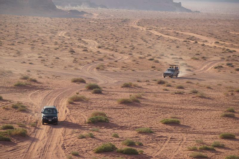 43 Golden Moments Desert Jeep No People Outdoors Red Sand Travel Truck Wadi Rum JORDAN