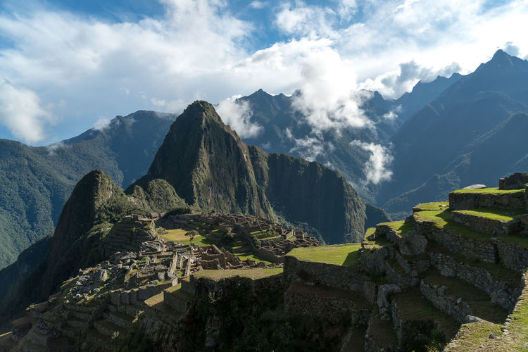 High angle view of machu picchu against cloudy sky