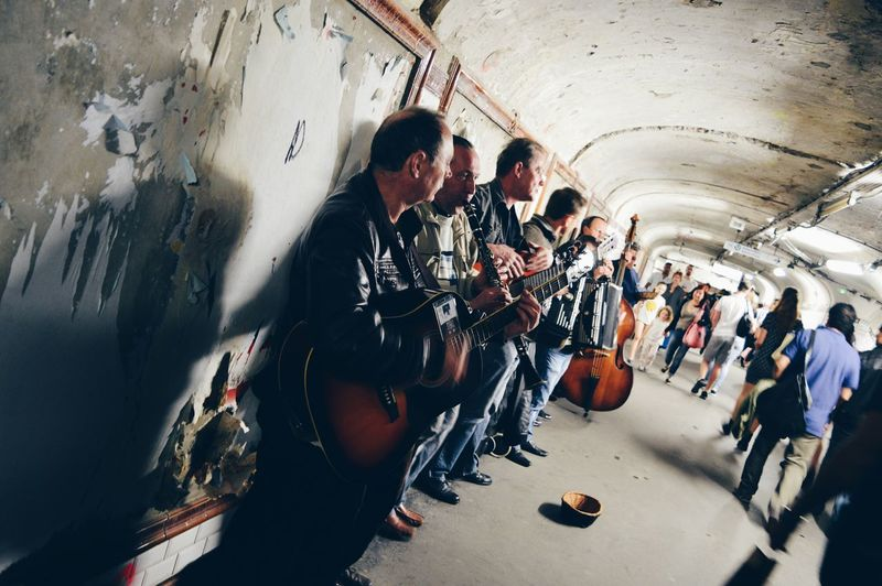TakeoverMusic Real People Men Subway Station Street Musicians Clasicmusic Instruments Cello Guitar Paris Underground People Music Art Is Everywhere