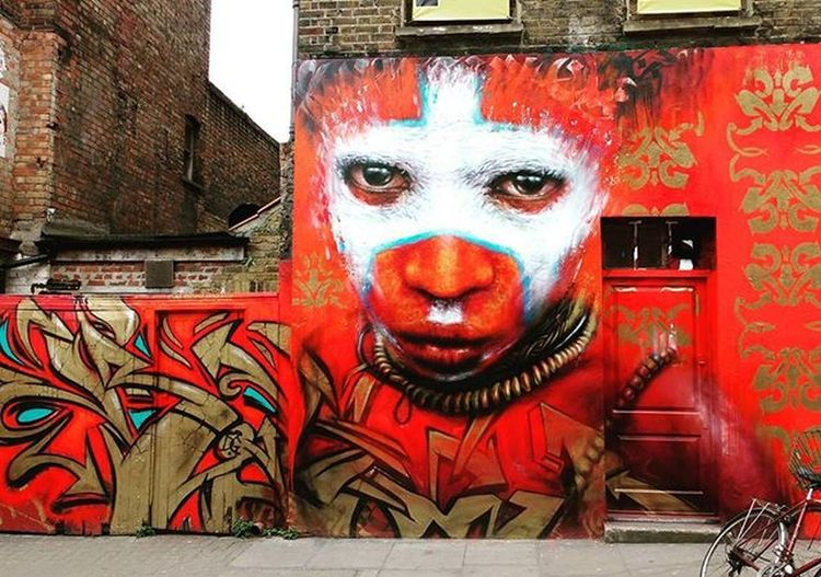 That happens when you wander about Shoreditch . It's just all about the eyes of this character. Couldn't look away from her eyes for some long minutes. Streetart London Mural Murals Eastlondon Streetartdaily Wallart Whopaintedthis