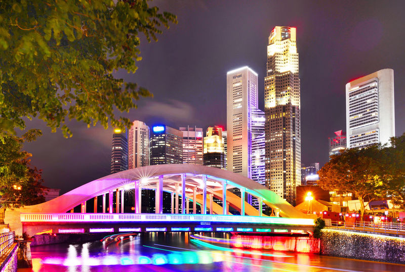 Elgin Bridge at night with lighting by the Singapore River Architecture Building Exterior Built Structure City Cityscape Clear Sky Elgin Bridge Growth Illuminated Long Exposure Modern Night No People Outdoors River Singapore View Sky Skyscraper Tree Water