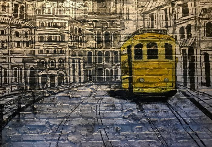 Painting on the wall #1 Indoors  Painting Architecture Built Structure No People Yellow Creativity Wall - Building Feature Graffiti City History