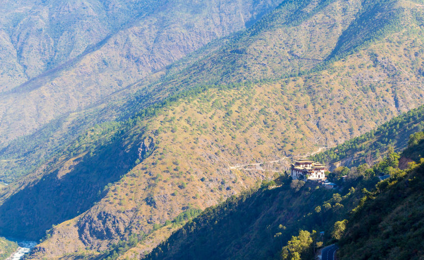ASIA Dzong Aerial View Beauty In Nature Bhutan Day Environment High Angle View Land Landscape Mountain Nature No People Non-urban Scene Outdoors Plant Scenics - Nature Tranquil Scene Tranquility Transportation Tree Water