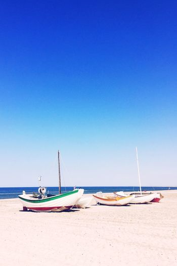 Beach Beachwalk Boats Clear Sky Blue Blue Sky Silence Peaceful Peace And Quiet Vacation First Eyeem Photo