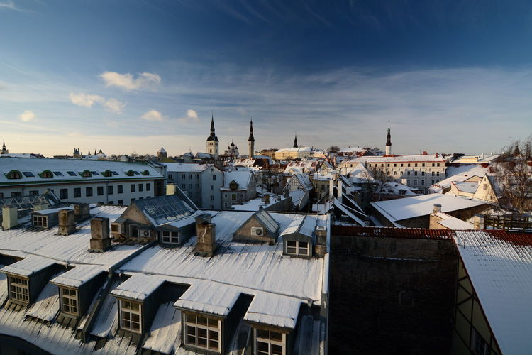 Winter view from Helleman tower. Tallinn. Estonia Tallinn Estonia Tallinn Old Town Tallinn Estonia Helleman Tower Tallinna Baltic Baltic Countries Cityscape Old Town Skyline Architecture Building Exterior Built Structure City Building High Angle View Roof Cloud - Sky Nature Travel Destinations Residential District Town City Life