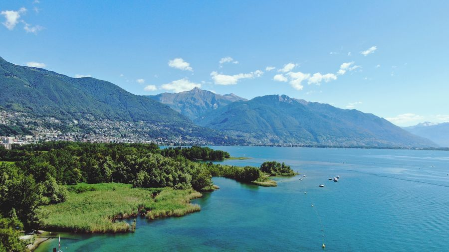 Ticino drone Water Mountain Sea Tree Blue Sky Landscape Mountain Range