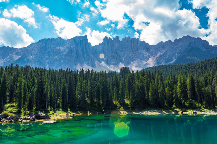 Carezza lake and Latemar in the background. Carezza Lake Latemar Dolomiti Landscape Tree Water Mountain Lake Forest Pine Tree Pinaceae Blue Mountain Peak Panoramic Rocky Mountains Pine Woodland Evergreen Tree Coniferous Tree First Eyeem Photo