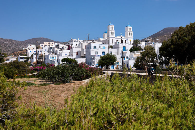 Amorgos Katapola Architecture Blue Building Building Exterior Built Structure City Clear Sky Copy Space Day Growth Land Mountain Nature No People Outdoors Plant Residential District Sky Sunlight Tree