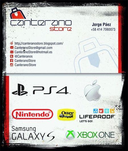 Nuestra tarjeta de presentación, CanteranoStore en Venezuela distribuidores de consolas y celulares Apple y Samsung