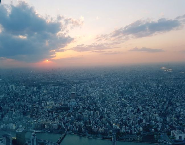 The Traveler - 2018 EyeEm Awards Skyisthelimit Flyhighinthesky High Tokyo Tokyo,Japan Sky Tree Sky And Clouds Skyisonfire City Cityscape Modern Sunset Urban Skyline Illuminated Business Finance And Industry Skyscraper Sky Architecture Panoramic Aerial View Skyline Downtown Office Building The Street Photographer - 2018 EyeEm Awards