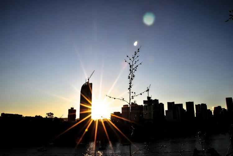 Brisbane Panoramic Skyline At Sunset