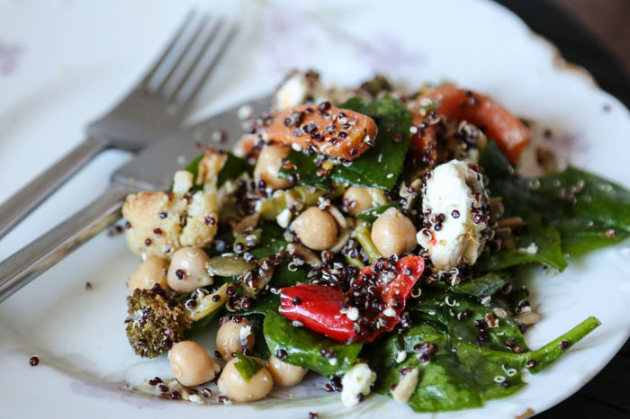 Eating Quinoa Salad Chickpeas Close-up Day Food Food And Drink Fork Fork & Knife Freshness Full Frame Healthy Eating Healthy Food Healthy Lifestyle Indoors  No People Pepper Plate Plate Of Food Quinoa Salad Ready-to-eat Serving Size Spinach Vegetable