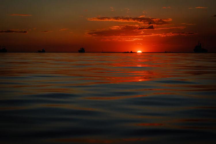 Sunset Water Sea Sunset Sky Nautical Vessel Nature Orange Color Beauty In Nature Cloud - Sky Multi Colored Sun