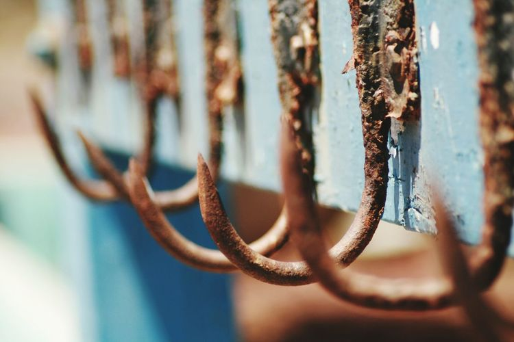 Still Life Hooks EyeEm Selects Hanging Close-up Rusty Fishing Equipment Weathered Hook Old