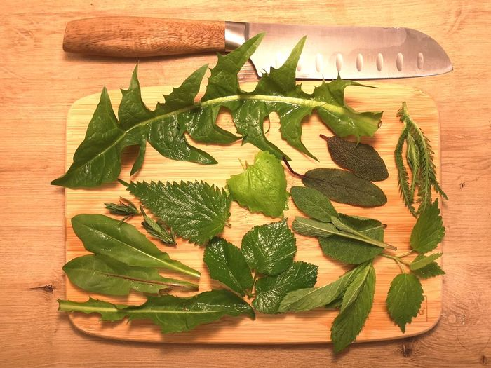 High angle view of chopped leaves on table