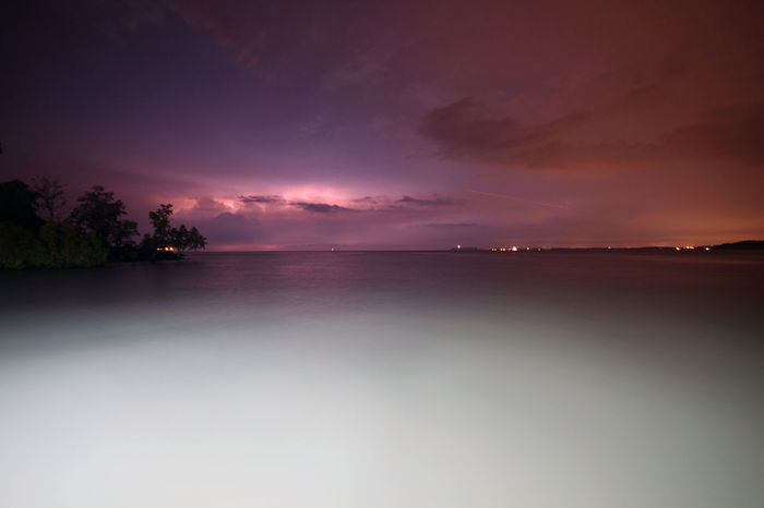 Long exposure sea during storm Long Exposure Shot Beach Beauty In Nature Horizon Over Water Landscape Long Exposure Nature Night No People Outdoors Scenics Sea Sea At Night Sky Sunset Tranquil Scene Tranquility Water
