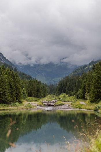 Calm Clouds Forest Lake Liechtenstein Mirror Mountainous Mountains Tranquility Village