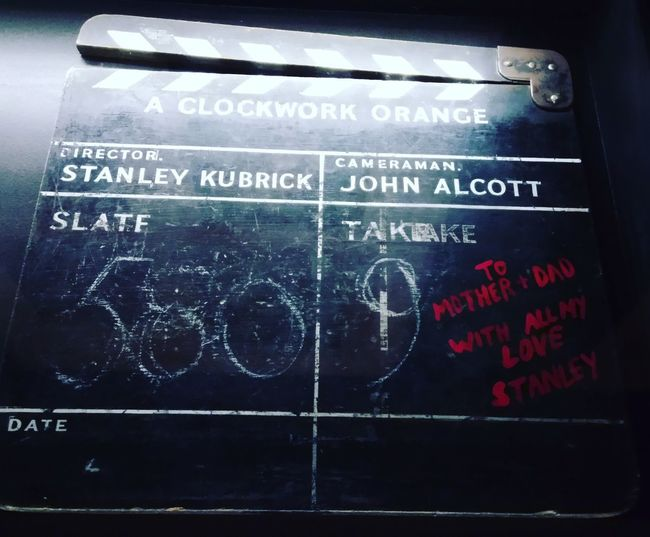 Stanley Kubrick clapperboard Stanley Kubrick Kubrick Clapper Clapperboard Movie Prop Cinema Clockwork Orange  Text Close-up