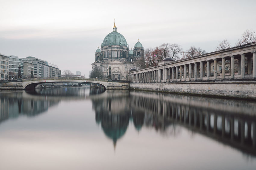 view on the Berlin Cathedral during the winter season Berlin Berlin Cathedral Berliner Dom City Cityscape Copy Space Winter Architecture Bridge - Man Made Structure Building Exterior Built Structure Chain Bridge City Cold Connection Day Dome Museum Island Berlin No People Outdoors Philipp Dase Place Of Worship Reflections In The Water Religion Sky Spirituality Spree River Sunrise Travel Destinations Water