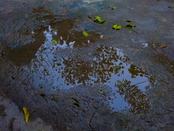 reflejo Matamoros Tamaultimas Tamaulipas Water Oil Spill Puddle Full Frame Reflection High Angle View Close-up