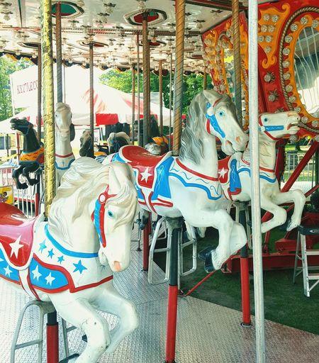 White Stallions !! Carousel Merry-go-round Amusement Park Ride Arts Culture And Entertainment Carousel Horses Amusement Park Enjoyment Fun Recreational Pursuit Turning
