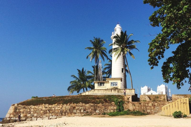 Happy Friday Sri Lanka Galle Fort Mosque Lighthouse Palm Tree Architecture Blue Clear Sky Travel Destinations