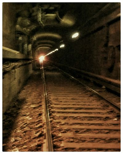 Uh oh. Light At The End Of The Tunnel Train Tracks Trainspotting Train Playing On The Tracks NYC SNAPp PhonePhotography