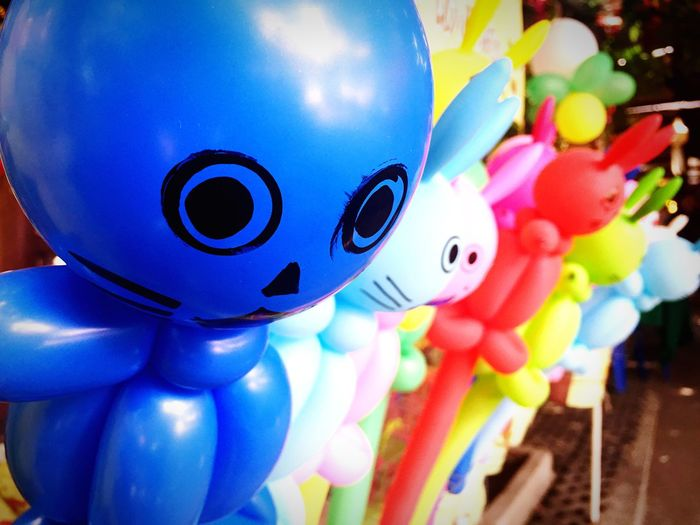 Blue No People Multi Colored Close-up Childhood Indoors  Day Ballons Happy Eyes Watching