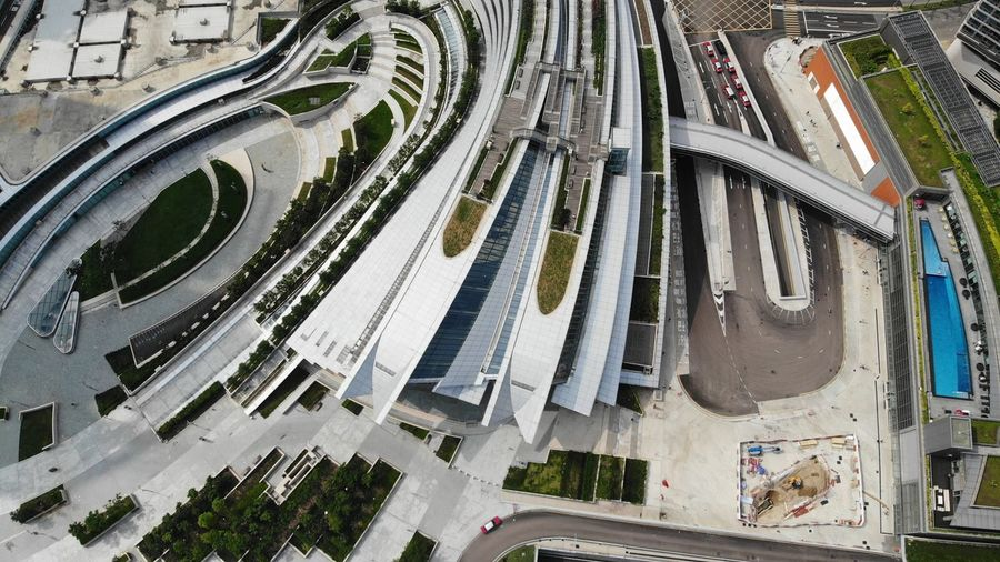 Guangzhou–Shenzhen–Hong Kong Express Rail Link train station West Kowloon Built Structure Building Exterior Architecture High Angle View Aerial View Outdoors Transportation Building Guangzhou–Shenzhen–Hong Kong Express Rail Link Hong Kong High Speed Train High Speed Rail Dronephotography Cityscape Cityscape Photography Streetphotography No People Train Station Street City Urban Modern Architecture Architecture_collection Construction Façade Exterior New Railway Railroad Station West Kowloon Waterfront Promenade 西九龍海濱長廊 Traffic Transportation Terminal Station Hong Kong Architecture Drone Photography Droneshot Economic Urbanphotography Urban Landscape