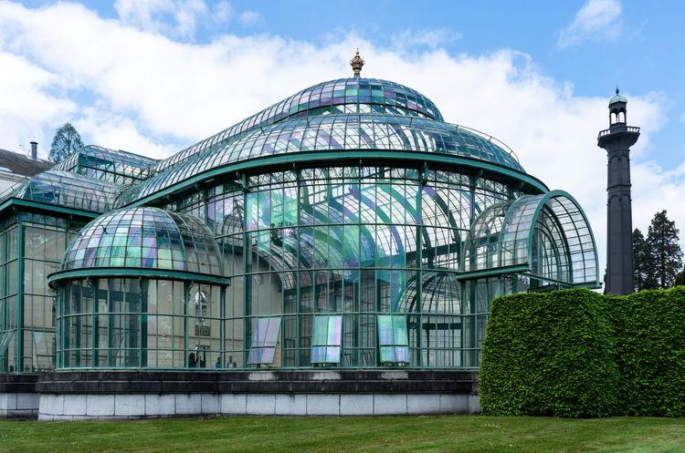 Serres De Laeken (Brussels). Arch Architecture Building Building Exterior Built Structure City Cloud - Sky Day Dome Glass - Material Grass Nature No People Outdoors Plant Sky Travel Travel Destinations Tree