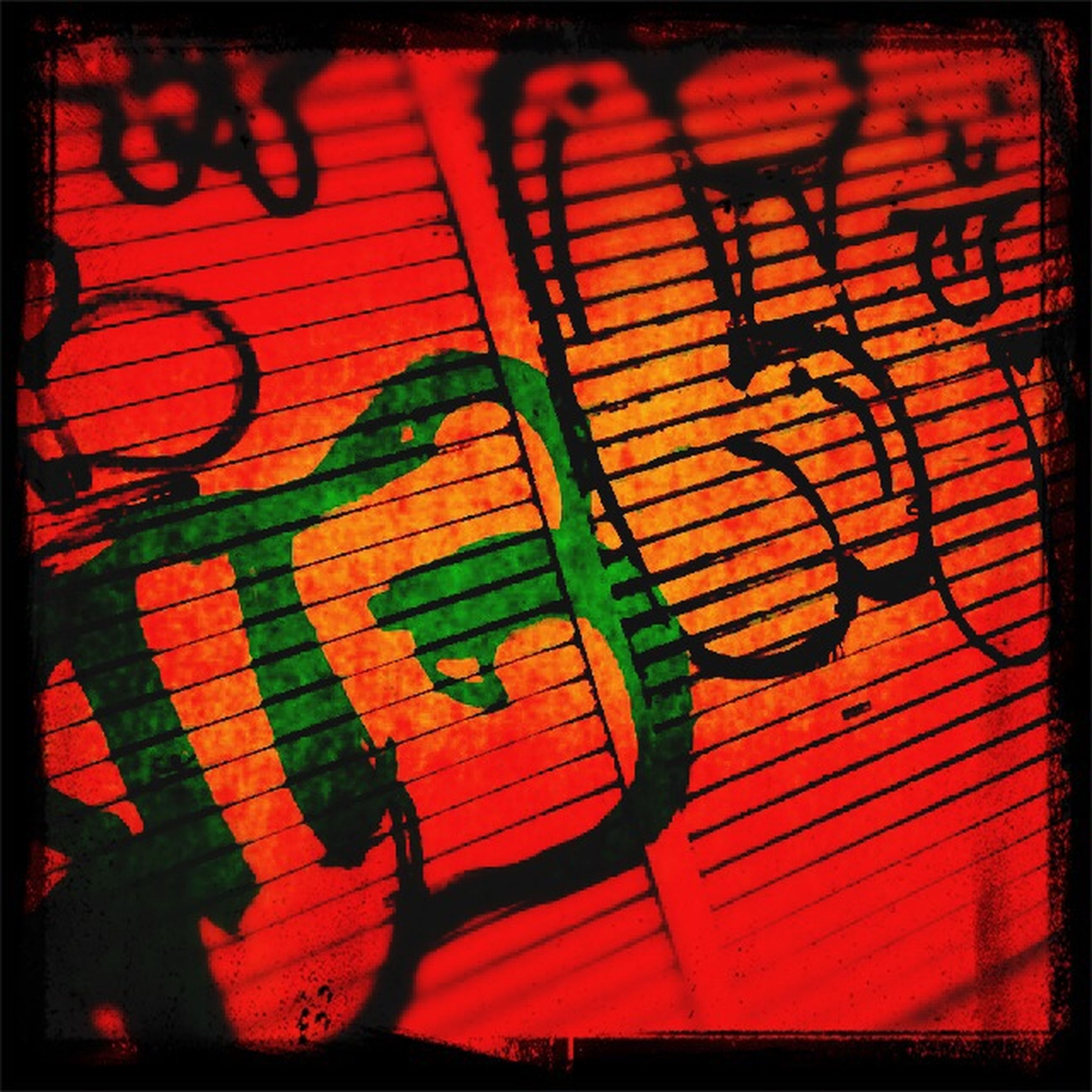 transfer print, graffiti, auto post production filter, creativity, art, art and craft, wall - building feature, shadow, pattern, red, street art, indoors, orange color, design, multi colored, wall, full frame, backgrounds, no people, high angle view