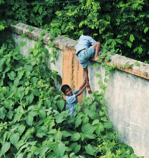 Two Brothers, trying to cross the wall Children Boys Wild Boys Childhood Full Length High Angle View