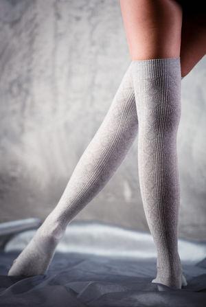 Beautiful woman legs in grey stockings Fashion Feminine  Leg Slim Stockings Woman Caucasian Close-up Gray Background Grey Hosiery  Human Body Part Human Leg Indoors  Indoors  Legs One Person Pose Posing Real People Slender Socks Studio Shot Woman's Body Part Women